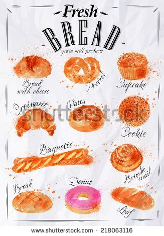 Bakery products painted watercolor poster with different types of bread products, loaf, bread, croissant, cookies, baguette, pretzel in paper http://www.shutterstock.com/ru/pic-218063116/stock-photo-bakery-products-painted-watercolor-poster-with-different-types-of-bread-products-loaf-bread.html?src=Nx7XWgS8zT0bkjJw1UAaKw-1-75