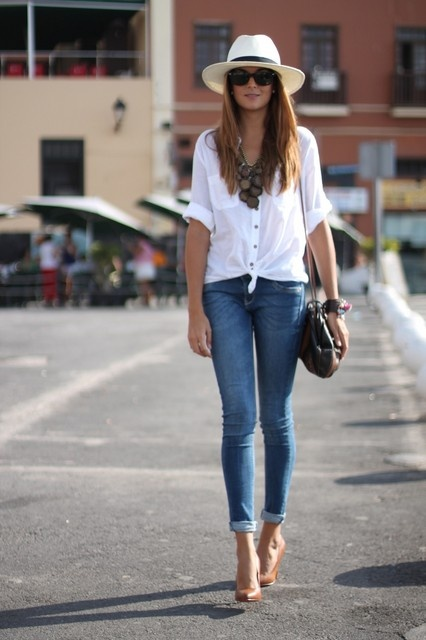casual white top, skinnies, nude shoes, and a fun & floppy hat. #spring