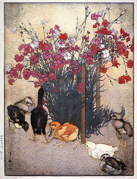 Chickens  by Hiroshi Yoshida, 1929Chicken 1929, Cassé Illustration, Beautiful, Yoshida Hiroshi, Hiroshi Yoshida, Yoshida Japanese