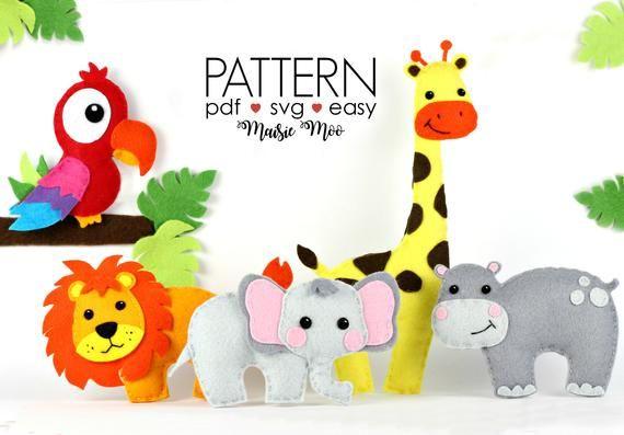 Pattern Rhino Giraffe PDF Digital Sewing Tutorial Download Alligator Tiger Felt Zoo Animals Elephant Zebra Monkey Lion