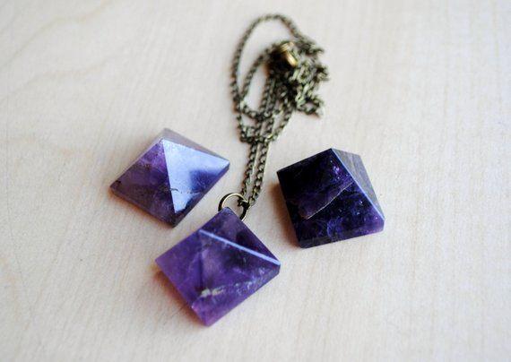 Becca Necklace  gunmetal mixed metal quartz pyramid drop choker