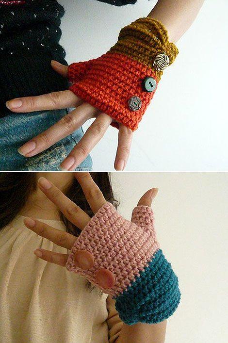Love the two-toned idea {fingerless gloves}