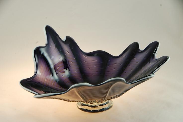 "Purple Passion Splash bowl by artist rick strini  12"" wide by 6"" tall available at www.striniartglass.com  808 5726283"