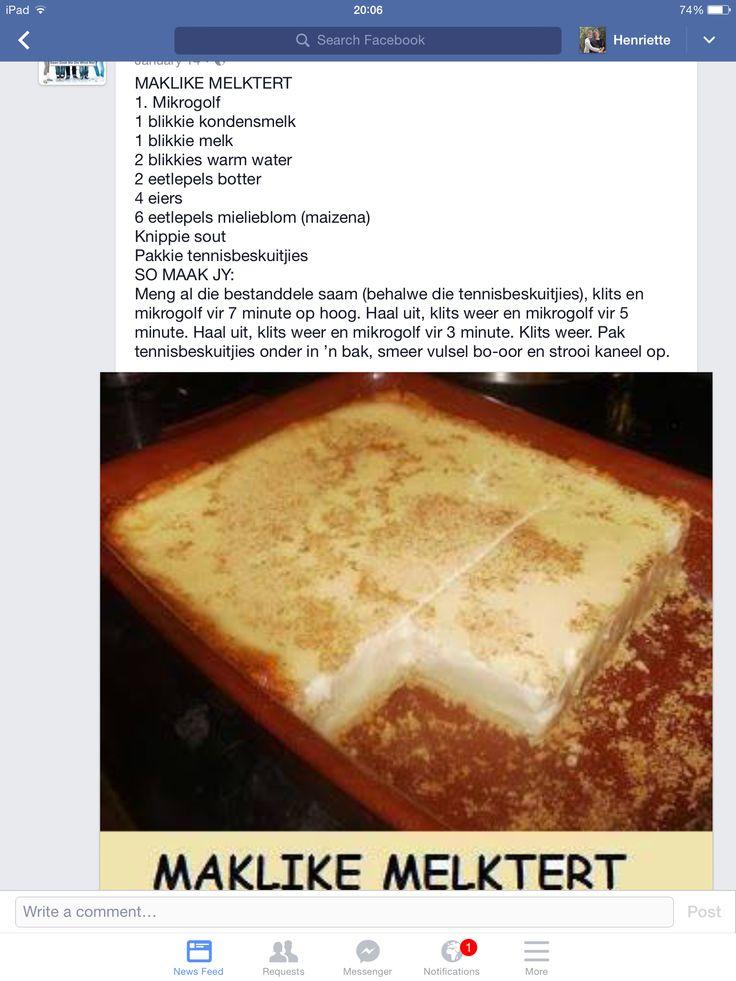 Maklike Melktert Milktart Recipe Custard Recipes Tart Recipes