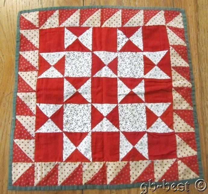 An original Pennsylvania doll quilt in a touching stars pattern. Framed with sawtooth and bars on back. | eBay!