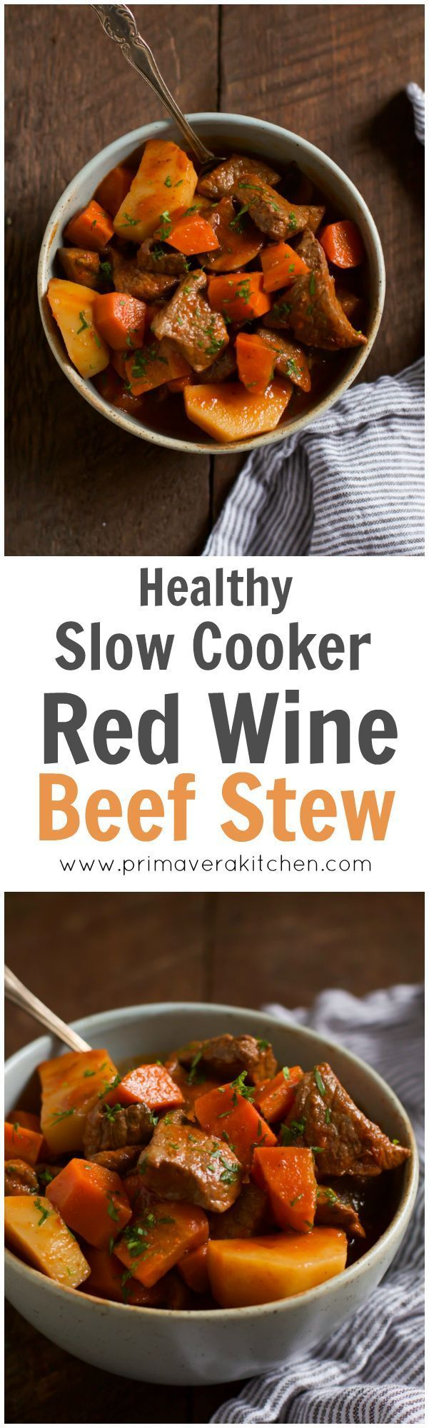 Slow Cooker Red Wine Beef Stew - This Slow Cooker Red Wine Beef Stew doesn't require any flour and loaded with potatoes, carrots and mushrooms. On top of that, it has a very delicious and rich sauce too enjoy!