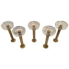 Five Midcentury Wall Hook Brass and Glass, Italy, 1970s