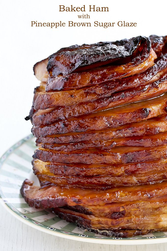 Beautifully caramelized Baked Ham with Pineapple Brown Sugar Glaze for the holidays or Sunday supper. Feeds a crowd and takes only minutes of hands on prep time. | Food to gladden the heart at RotiNRice.com