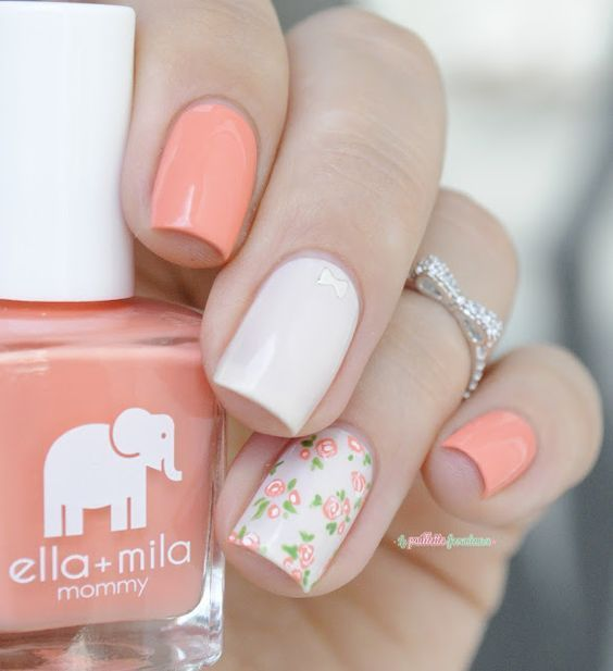 Ella+Mila nail polish sunkissed and pretty in pink // Love mommy vintage roses flower nail art - bow nails - bow knuckle ring - http://lapaillettefrondeuse.blogspot.be/2015/09/ella-mila-love-mommy.html