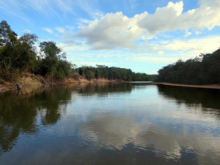 The Rupununi River in southwestern Guyana is a tributary of the Essequibo River.