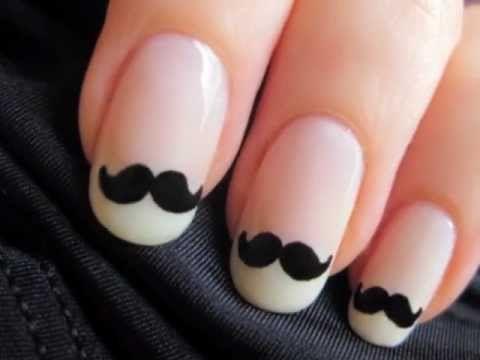 Cute Mustache Nail Art