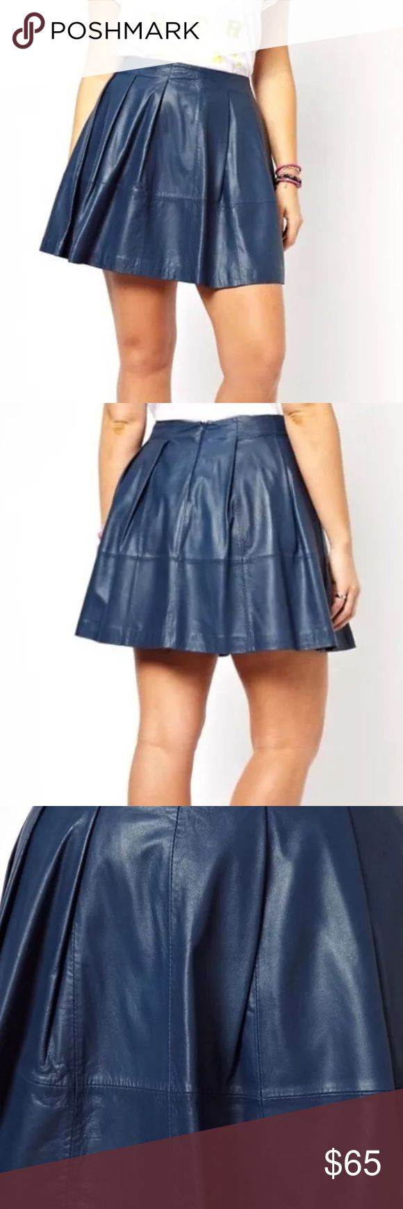 "ASOS Curve exclusive navy leather skater skirt ASOS curve 18 plus size authentic leather skirt in navy. Sold out online . Perfect condition. $159 msrp . Circle skater skirt style. 21"" long 42"" waist. Fully lined. Well made ASOS Curve Skirts Circle & Skater"