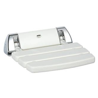Mira Shower Seat White / Chrome 355 x 60 x 382mm Can be used in or out of the showering area. Simple design can be secured to any solid wall and folds up when not in use. White/chrome finish. Seat, fixings and fittings. http://www.MightGet.com/april-2017-1/mira-shower-seat-white--chrome-355-x-60-x-382mm.asp