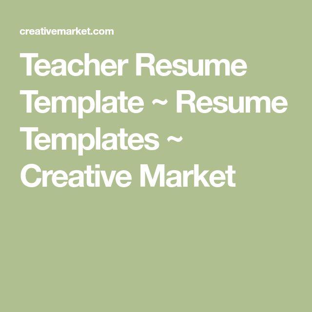 teacher resume template resume templates creative market - Creative Teacher Resume Templates