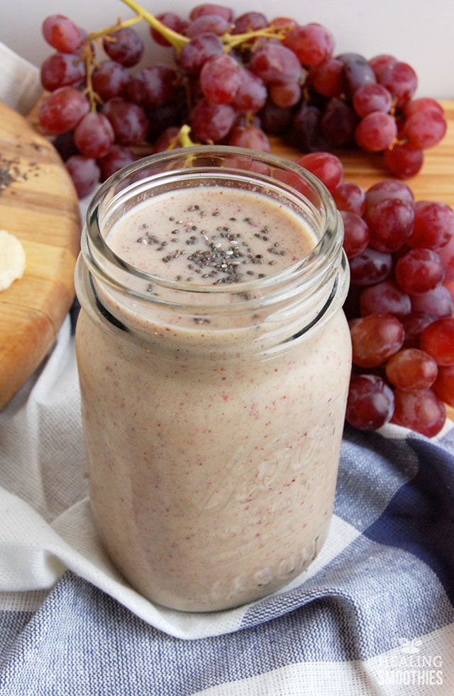 In this PB&J red grape smoothie you'll get vitamins and fiber from red grapes, and healthy fat, protein, and fiber from peanut butter. No grains or added carbs from bread in this sandwich turned smoothie.
