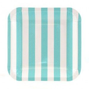 the most adooorable aqua and white striped paper plates!!