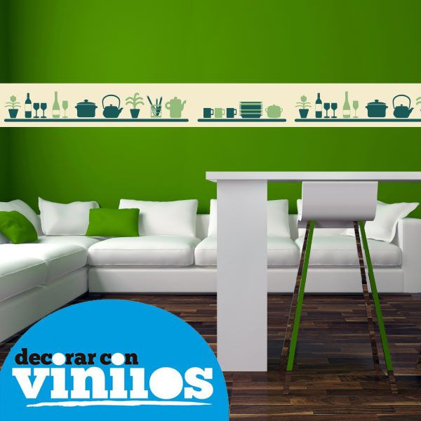 16 best cortinas cocina images on pinterest border tiles for Vinilos decorativos para cocina