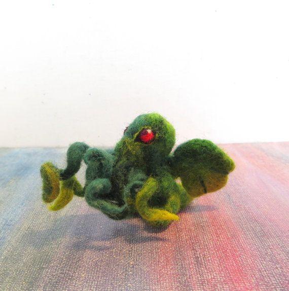 Tentacles Needle Felted Cthulhu  Baby Dread by CuriositycreatedKat