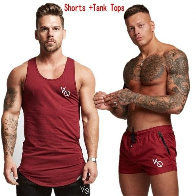 Two Piece Set Men Short Sleeve T Shirt Cropped Top+Shorts Men'S Tracksuits 2018 Causal Sportswear Tops Short Trousers Mens Sets_