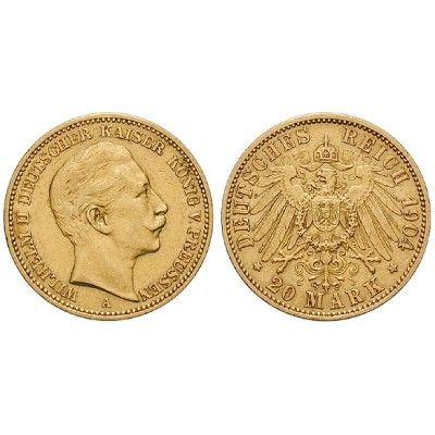 Deutsches Kaiserreich, Preussen, Wilhelm II., 20 Mark 1904, A, ss, J. 252: Wilhelm II. 1888-1918. 20 Mark 1904 A. J. 252; GOLD, sehr… #coins