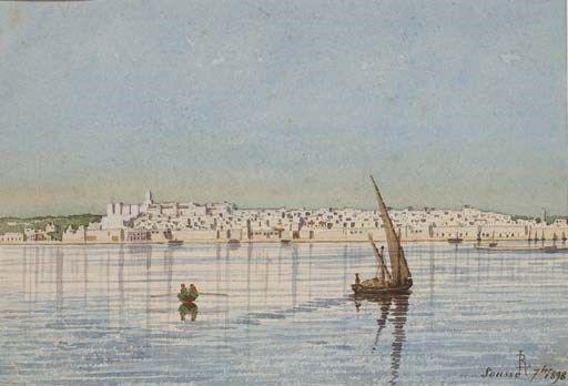 LOUIS RANDAVEL (1869 - 1947)  Vue de Sousse en Tunisie  monogrammé et inscrit 'RL Sousse 7bre, 1898' (en bas à droite)  Aquarelle sur papier et mine de plomb  175 x 250 mm. (6 7/8 x 9 7/8 in.)
