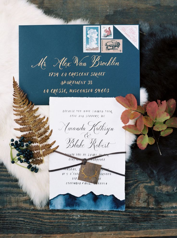 Rustic navy + gold invitation suite: Photography : Jeremiah And Rachel Photography Read More on SMP: http://www.stylemepretty.com/montana-weddings/columbia-falls/2016/03/03/rustic-intimate-northwest-montana-wedding/