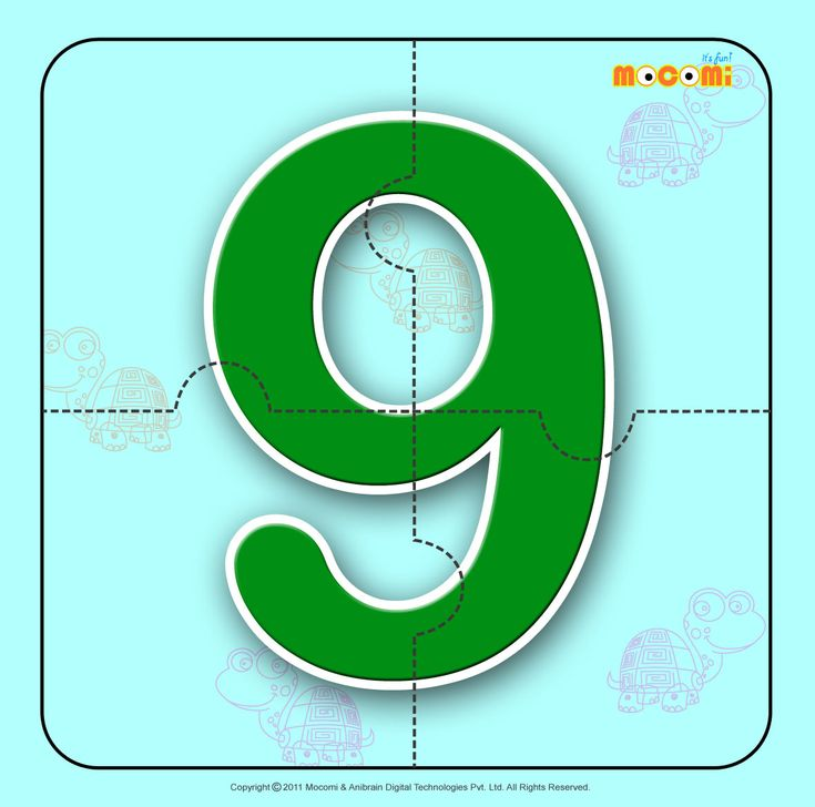 Number – Nine 9 – Easy online, free to download, number #jigsawpuzzles tied to lesson plans and printable activities for pre-schoolers, kindergarden and early elementary. More such informative posts at http://mocomi.com/fun/arts-crafts/printables/jigsaw-puzzles/