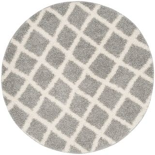 Shop for Safavieh Dallas Shag Grey/ Ivory Trellis Rug (6' Round). Get free shipping at Overstock.com - Your Online Home Decor Outlet Store! Get 5% in rewards with Club O! - 18563343