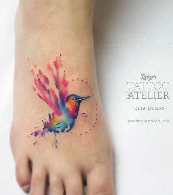 Watercolor Colibri Bird Tattoo on Foot.