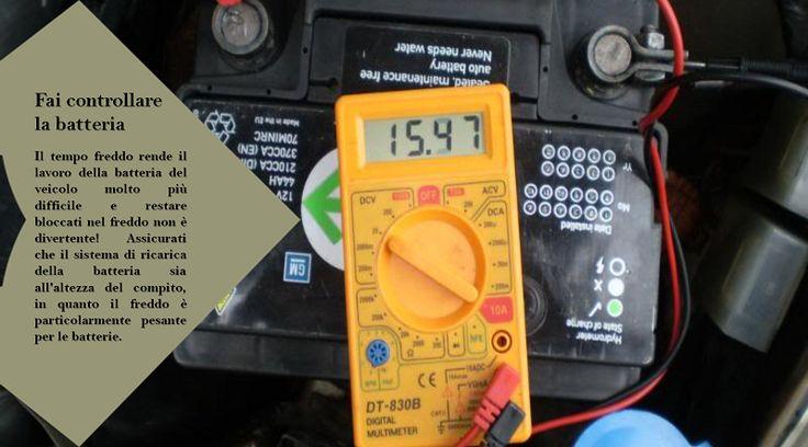 Batteria Le temperature fredde possono indebolire la batteria. Chiedi ad un professionista di  verificare la presenza di tracce di corrosione per garantire partenze senza preoccupazioni. Assicurati inoltre che i cavi siano fissati saldamente. #pneumaticiinvernali