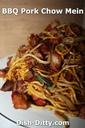 BBQ Pork Chow Mein Recipe by Dish Ditty Recipes - I just love BBQ Pork Chow Mein and it definitely is an american favorite at Chinese Restaurants around the nation.  - http://www.dish-ditty.com/recipe/bbq-pork-chow-mein-recipe/