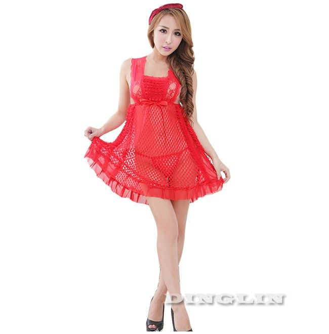 GZDL Women Lace Mesh Fishnet Babydoll Chemise Dress Nightwear Sleepwear Nightdress Sexy Lingerie Hot G-string Thong Set SY4120 | OK Fashion