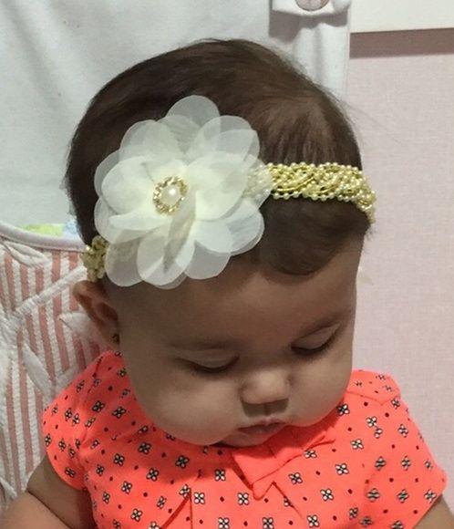 faixa YARA pérola/dourado luxo flor