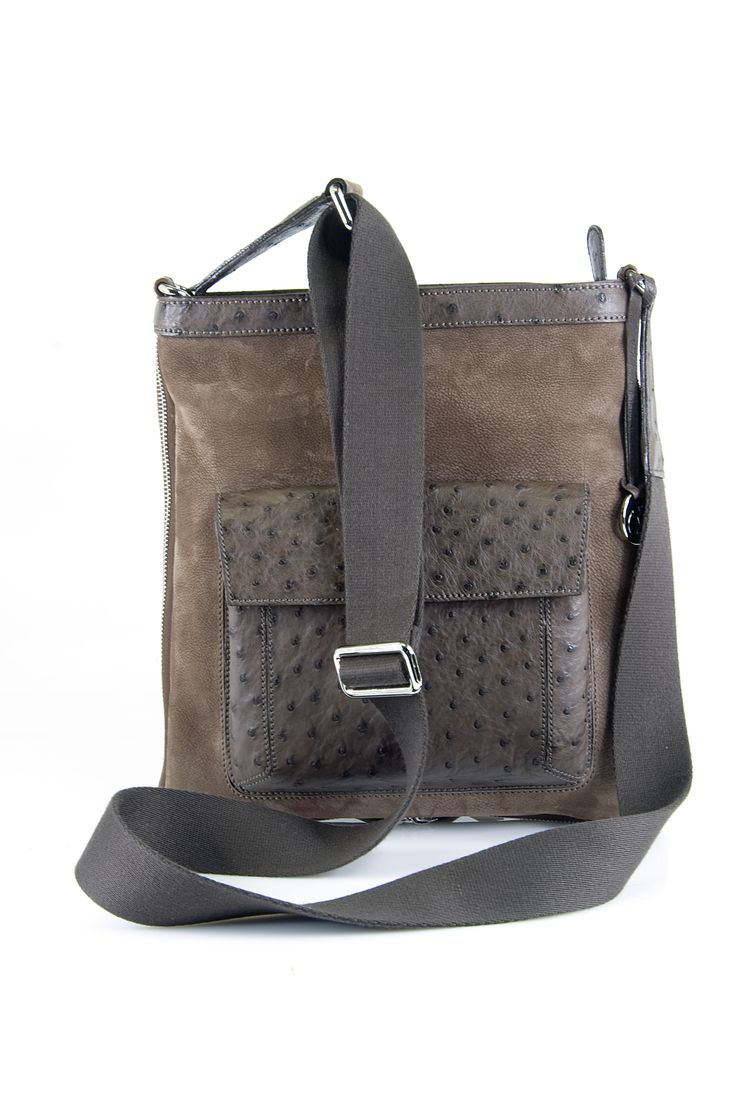 Via La Moda mens satchel in Ostrich / Nabuk