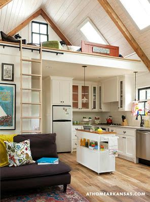 tiny cottage interior, small space layout, bunk loft. sliding ladder