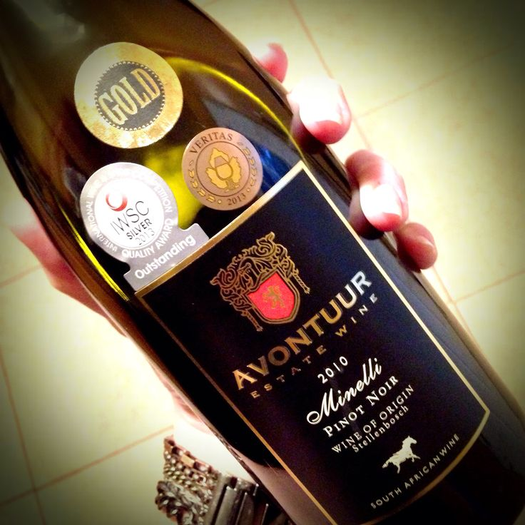 Minelli Pinot Noir (2010) from the Avontuur Estate, Stellenbosch, South Africa. Medium-bodied with an elegant aroma--spicy notes as well as cherries and black currants. #wine #southafrica #pinotnoir