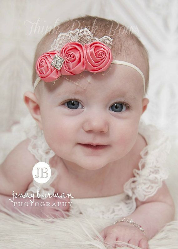 Coral Baby Headband Newborn Headband Flower by ThinkPinkBows, $9.95