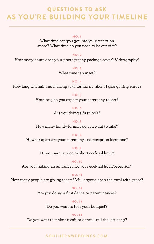 questions to keep in mind as you're building your wedding day timeline