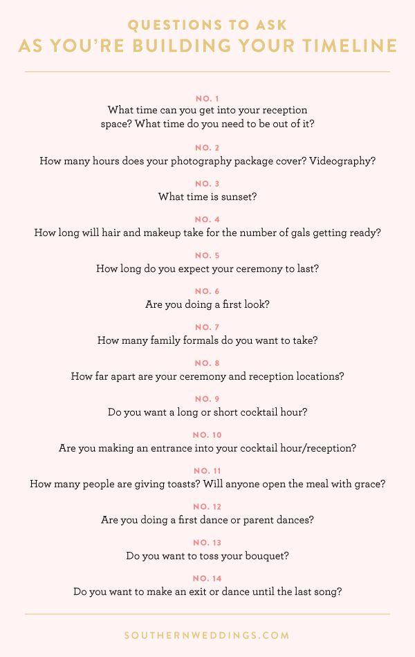 Expert Advice: Creating a Wedding Day Timeline - Southern Weddings Magazine