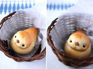 Treat idea: February 2013  ---- White bread dough, one bullet to the head and one teardrop shape for the body. Raisins and almond eyes and the beak. When the hedgehogs bread is a rich recipe.