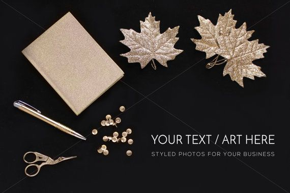 Glitter Styled Desktop Gold glitter leaves by confettibears