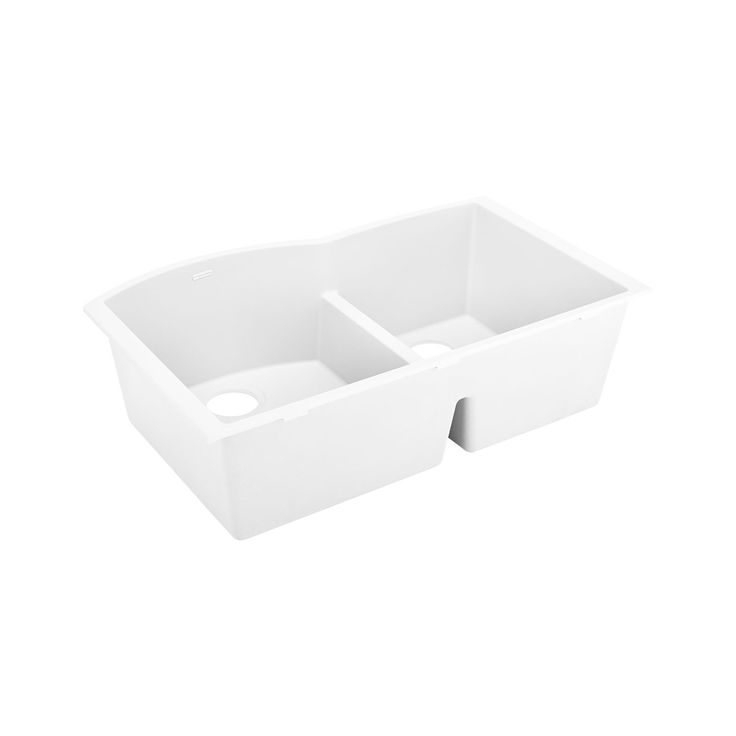 "33"" Walland 60/40 Double-Bowl Undermount Granite Composite Sink - White"