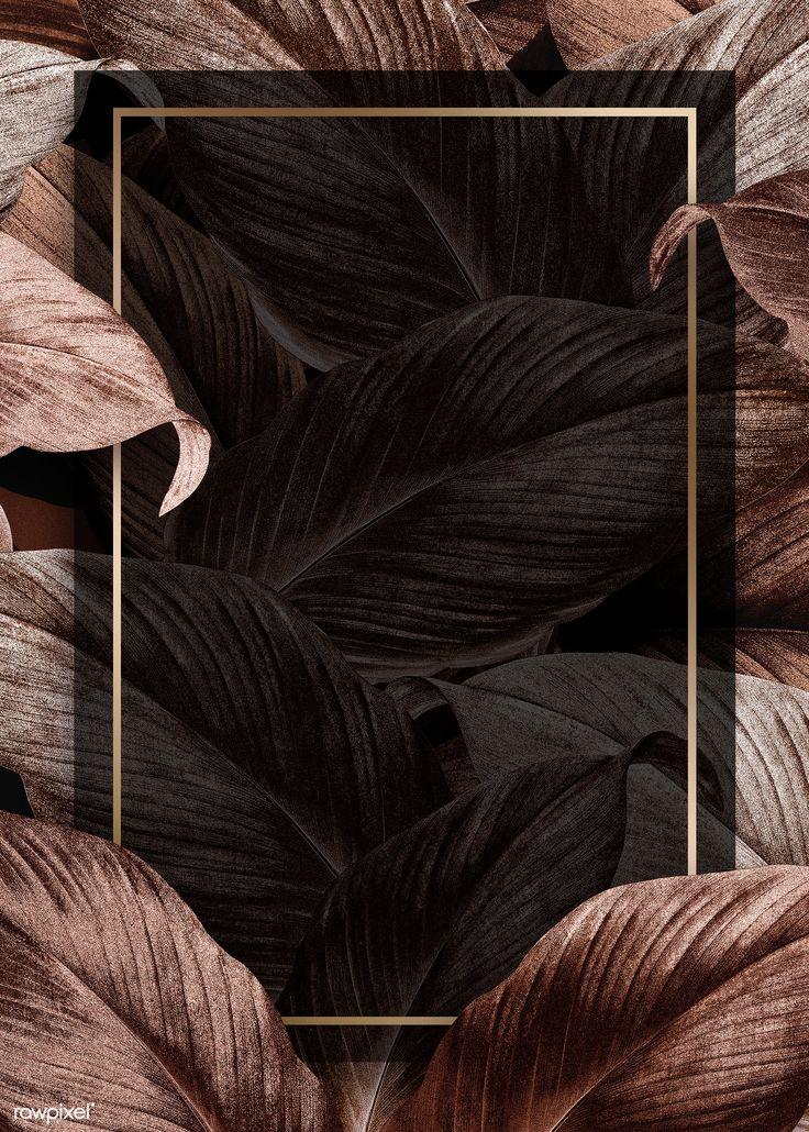 Download premium illustration of Bronze tropical leaves patterned poster – Puja Balag