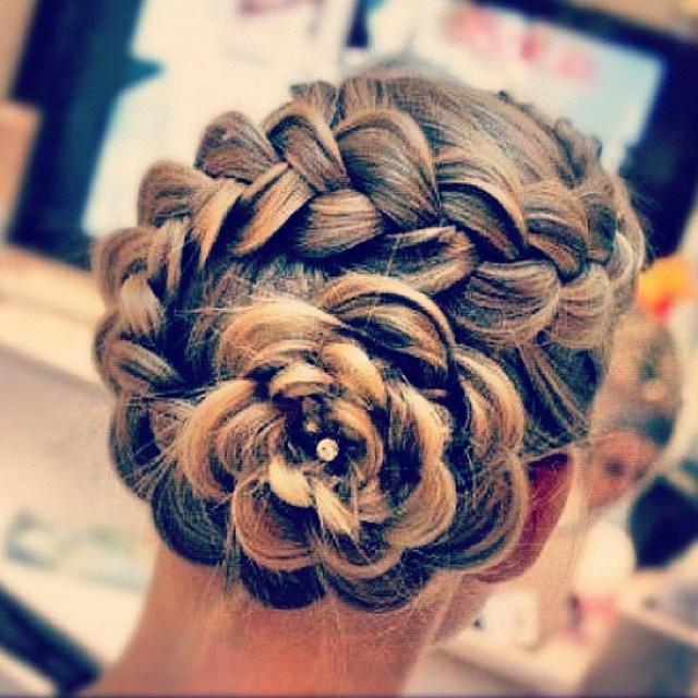 Braided Flower Updo For Grad Hair Styles Prom Hair