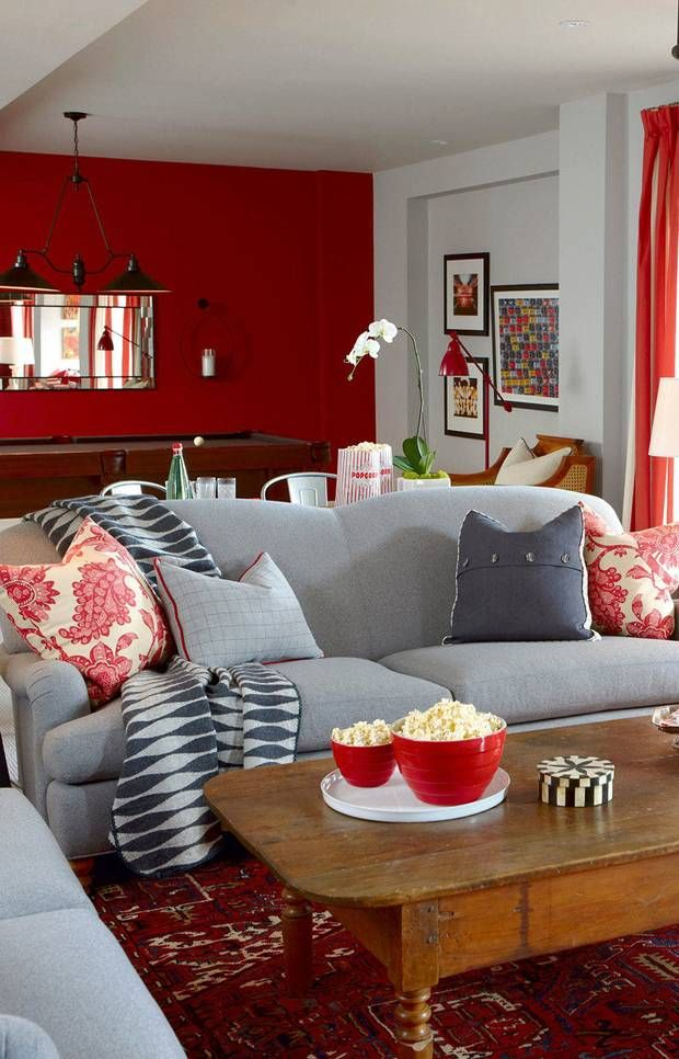 1000 ideas about red accents on pinterest red accent - Family pictures on living room wall ...