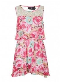 Floral Layered Chiffon Dress Multi-colour