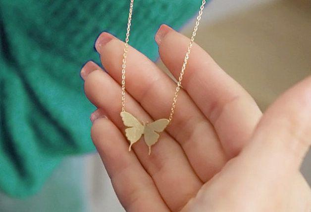 vlinder ketting, zilver / goud vlinder ketting van Superarmband op DaWanda.com