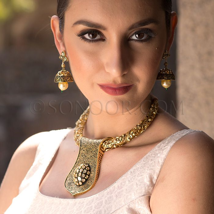NEC/1/3708 Nirav Necklace Set with Earrings in oxidised gold finish studded with meena kari, white czee stones, and hanging pearl droplets