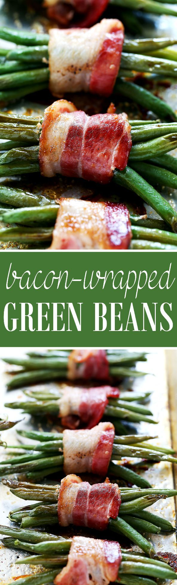 Bacon-Wrapped Green Beans | www.diethood.com | Roasted fresh green beans wrapped in bacon and sprinkled with brown sugar and a drizzle of balsamic vinegar.