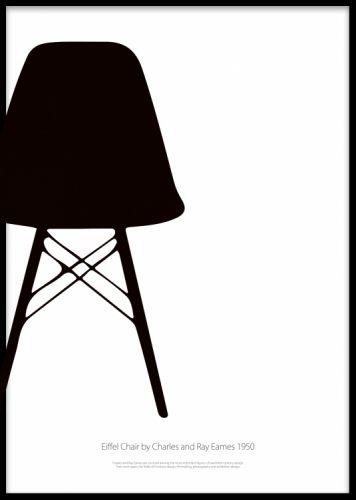 """Eiffel Chair poster. Svartvit poster med klassisk stol. Grafisk svartvit poster med den tidlösa designstolen """"Eiffel Chair"""" av Charles & Ray Eames. Stilren design att pryda väggen med. Se även våra andra posters med designstolar."""